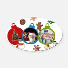 Las Vegas Christmas Ornaments Oval Car Magnet