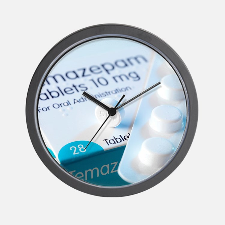 Temazepam sleeping tablet and packaging Wall Clock