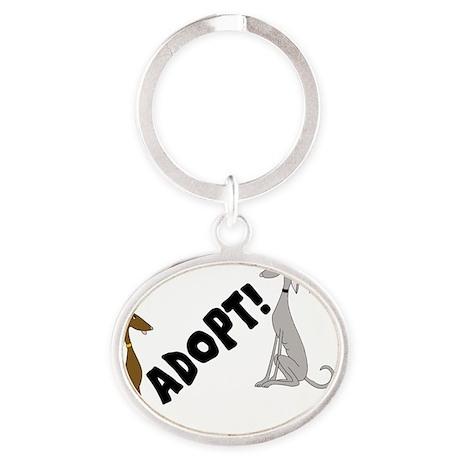 adopt!3.gif Oval Keychain