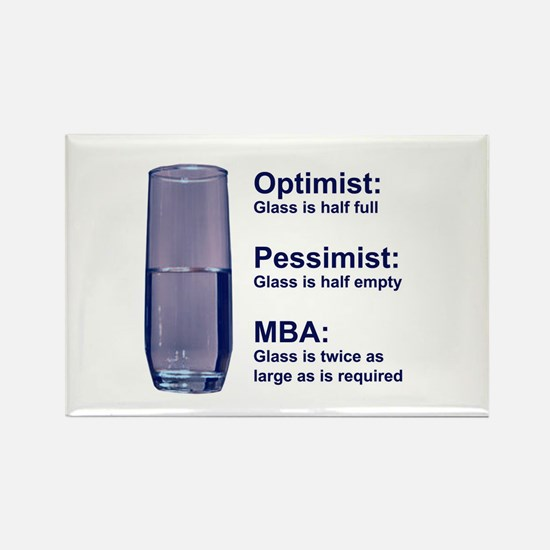 MBA Half Full Rectangle Magnet