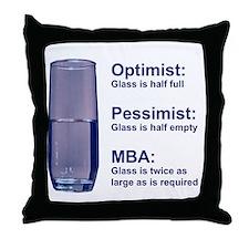 MBA Half Full Throw Pillow