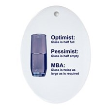 MBA Half Full Oval Ornament