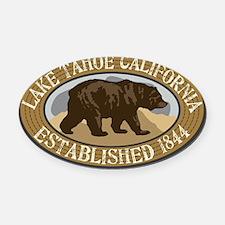 Lake Tahoe Brown Bear Badge Oval Car Magnet