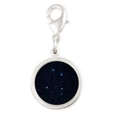 The constellation of Corvus Silver Round Charm
