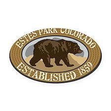 Estes Park Brown Bear Badge Oval Car Magnet