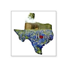 "Texas Home Bluebonnets Square Sticker 3"" x 3"""