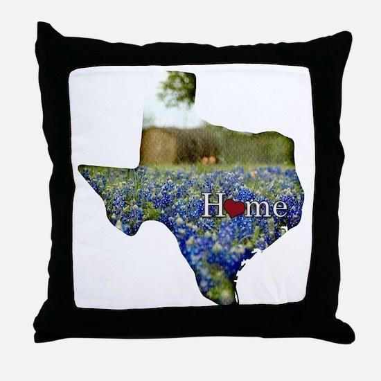 Texas Home Bluebonnets Throw Pillow