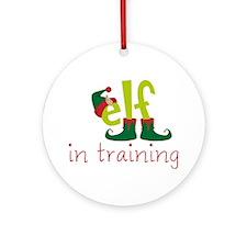 Elf In Training Round Ornament