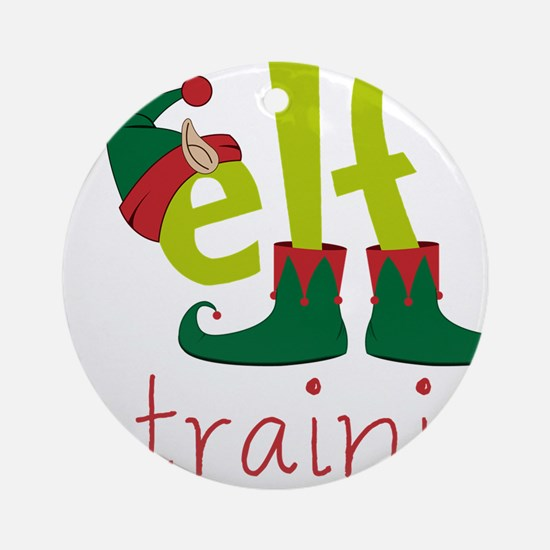 Elf In Training Round Ornament