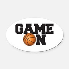 Game On Basketball Oval Car Magnet