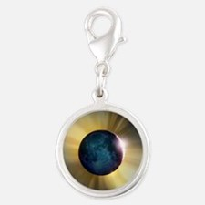 Total solar eclipse Silver Round Charm