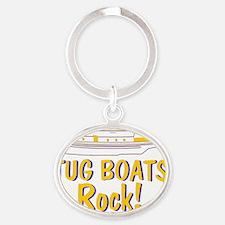Tug Boats Rock Oval Keychain