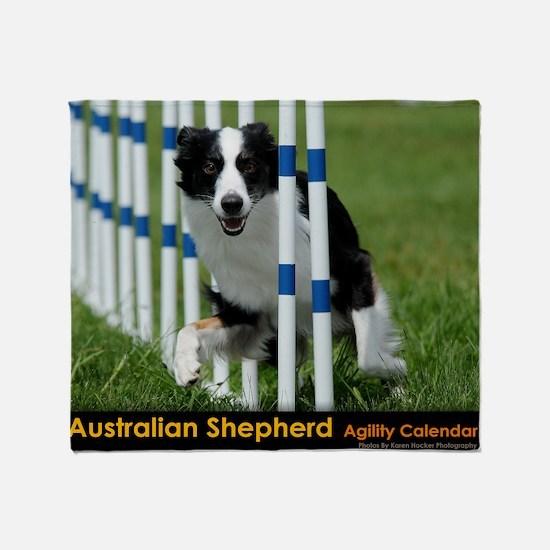 Australian Shepherd Agility Calendar Throw Blanket