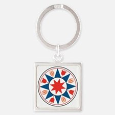 Eight Pointed Star Square Keychain