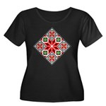 Folk Design 3 Women's Plus Size Scoop Neck Drk Tee