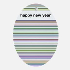 Happy New Year Oval Ornament