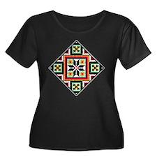 Folk Design 1 Women's Plus Size Scoop Neck Drk Tee