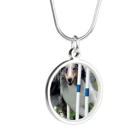 Shetland Sheepdog Blast Silver Round Necklace