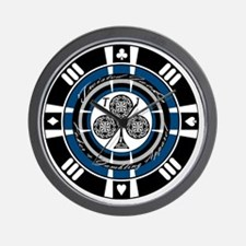 Twisted Chip of Clubs Wall Clock