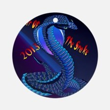 Calender Year Of The Snake-lettered Round Ornament