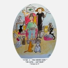 Cat Lady Rule #1 Oval Ornament