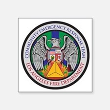 "LAFD-CERT-LA Logo - no whit Square Sticker 3"" x 3"""