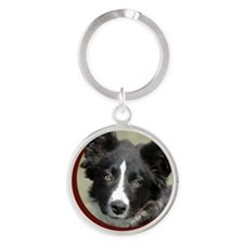 Border Collie Puppy Round Keychain