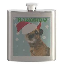 Naughty Border Terrier Flask