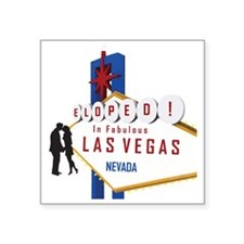 "Eloped in Las Vegas Square Sticker 3"" x 3"""