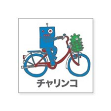 "Japanese Bike Robot - Chari Square Sticker 3"" x 3"""