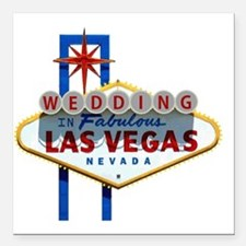 "Wedding In Las Vegas Square Car Magnet 3"" x 3"""
