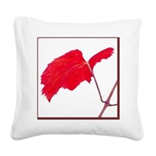 Red Grape Leaf Square Canvas Pillow