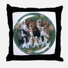 Cavalier King Charles Spaniel Group Throw Pillow