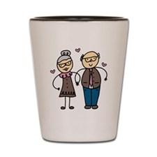 Elderly Couple Shot Glass