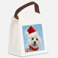 Maltese Puppy Christmas Canvas Lunch Bag