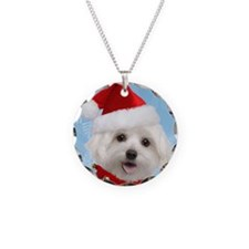 Maltese Puppy Christmas Necklace