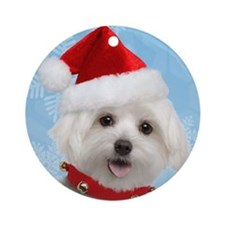 Maltese Puppy Christmas Round Ornament