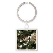 Christmas Tree Kitty Square Keychain