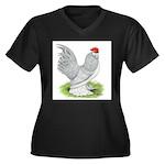 Self Blue Rooster Women's Plus Size V-Neck Dark T-