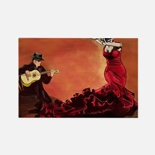 Flamenco Dancer and Guitarist Rectangle Magnet