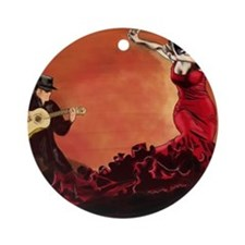 Flamenco Dancer and Guitarist Round Ornament