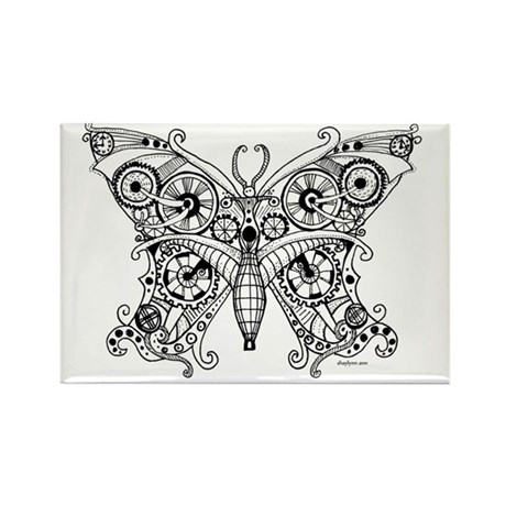 Steampunk Butterfly Rectangle Magnet