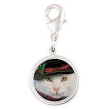Snowcat Christmas Silver Round Charm