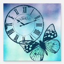 """Butterfly Clock Square Car Magnet 3"""" x 3"""""""