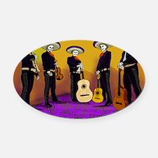 Mariachi Dia de los Muertos Band Oval Car Magnet