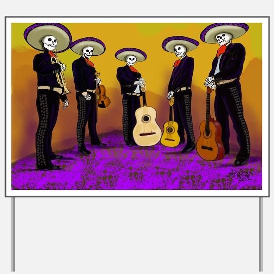 Mariachi Dia de los Muertos Band Yard Sign