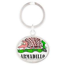 Cartoon Armadillo by Lorenzo Travers Oval Keychain