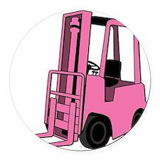 Pink Forklift Round Car Magnet