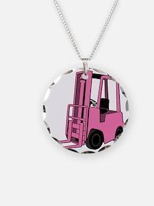 Pink Forklift Necklace