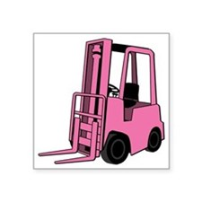 "Pink Forklift Square Sticker 3"" x 3"""
